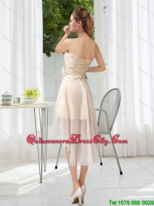 2020 Summer Cheap Strapless A Line Dama Dresses with Belt and Lace