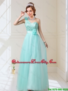 2020 Fall New Style Empire Lace Up Hand Made Flowers Dama Dresses in Mint