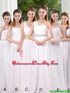 Luxurious 2016 Fall Simple Empire Ruching Dama Dresses in White