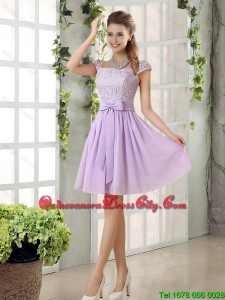 2020 Summer Popular Chiffon Dama Dresses with Ruching Bowknot