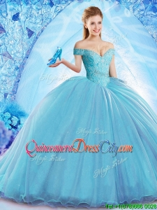 2022 Beautiful Beaded Bodice Organza Quinceanera Dress with Brush Train