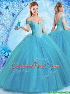 2022 Classical Off the Shoulder Quinceanera Dress with Brush Train