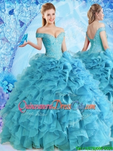 2022 Elegant Beaded and Ruffled Quinceanera Dress in Baby Blue