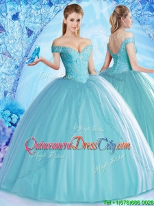 2022 Lovely Off the Shoulder Aqua Blue Quinceanera Dress with Beading