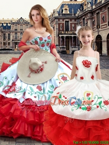 Best Ruffled Layers and Embroideried Princesita Quinceanera Dresses in White and Red