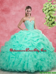 Beautiful 2016 Beaded Apple Green Quinceanera Gowns with Ruffles