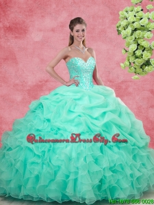 Discount Sweetheart Apple Green Quinceanera Gowns with Beading