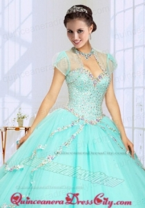 2021 Fashionable Beading Tulle Quinceanera Jacket in Mint