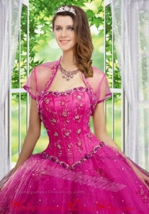 Beautiful Beading and Appliques Hot Pink Tulle Quinceanera Jacket