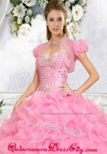 Exquisite Beading and Ruffles Special Occasion Quinceanera Jacket in Pink