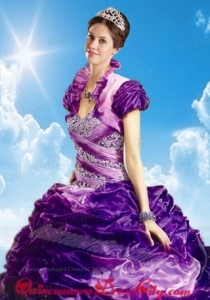 Lovely Fuchsia Organza Quinceanera Jacket with Ruffles