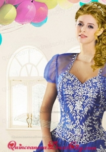 The brand new style Tulle Beading Quinceanera Jacket in Blue