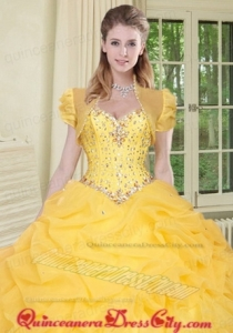 Top Selling High Quality Instock Special Occasion Yellow Quinceanera Jacket with Beading and Ruffles