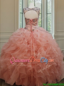 2022 Beautiful Beaded and Ruffled Quinceanera Dress with See Through Scoop