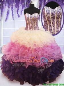 2022 Visible Boning Beaded Bodice and Ruffled Quinceanera Dress in Gradient Color