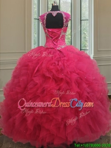 New Style Square Tulle Coral Red Quinceanera Dress with Cap Sleeves