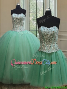 Affordable Two Piece Beaded Bodice Apple Green Detachable Quinceanera Dress