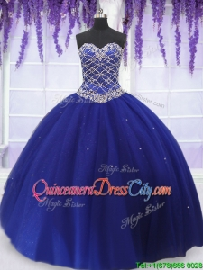 Elegant Really Puffy Beaded Bodice Detachable Quinceanera Dress in Royal Blue