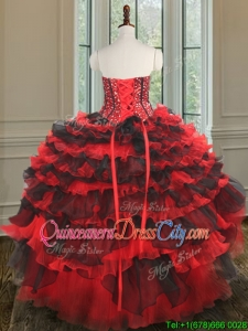 Modern Red and Black Detachable Quinceanera Dress with Beading and Ruffled Layers