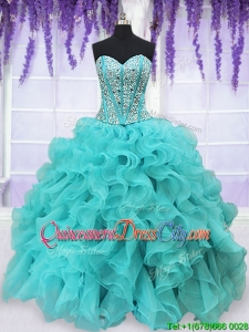 Three Piece Visible Boning Beaded and Ruffled Aquamarine Detachable Quinceanera Dress