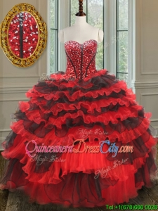 Most Popular Beaded and Ruffled Layers Quinceanera Dress in Red and Black