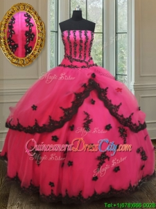 Exquisite Strapless Black and Hot Pink Quinceanera Dress with Appliques