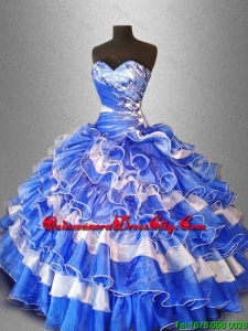 2021 Sweet Beaded and Ruffles Quinceanera Gowns in Organza