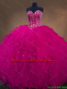 2020 Luxurious Sweetheart Beaded Quinceanera Dresses in Hot Pink