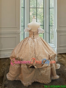 Best Off the Shoulder Button Up Little Girl Pageant Dress in Organza and Lace