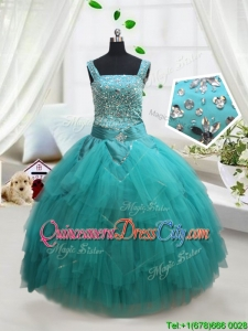 Wonderful Square Turquoise Little Girl Pageant Dress with Beading and Belt