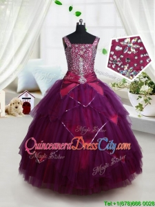 Beautiful Square Beaded Bodice and Belted Dark Purple Little Girl Pageant Dress