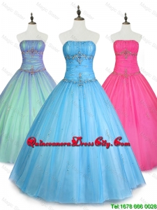 2020 Custom Made Strapless Ball Gown Sweet 16 Dresses with Beading