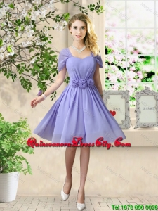 Elegant Hand Made Flowers Dama Dresses with Short Sleeves