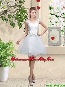 Elegant Straps Dama Dresses with Bowknot and Hand Made Flowers