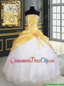 New Arrivals Handcrafted Flower Yellow and White Quinceanera Dress in Organza and Taffeta