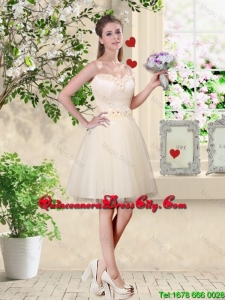 Feminine A Line Hand Made Flowers Dama Dresses in Champagne