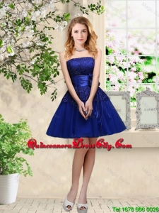 Simple Sweetheart Royal Blue Dama Dresses with Belt