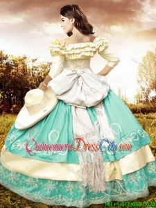 Elegant Bowknot Off The Shoulder Two Tone Quinceanera Dress with Half Sleeves