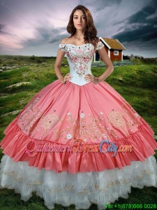 Gorgeous Off the Shoulder Watermelon Red and White Quinceanera Dress with Embroidery