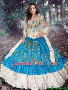 Lovely Really Puffy Off The Shoulder Quinceanera Gown in White and Teal