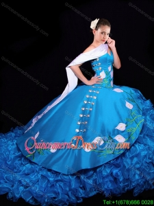 Western Style Luxurious Brush Train Embroideried and Ruffled Quinceanera Dress in Organza and Taffeta