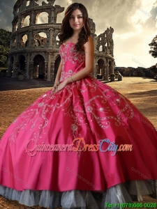 Wild West Elegant Hot Pink Sweetheart Quinceanera Dress with Embroidery and Beading