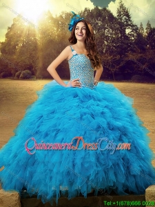 Wild-west Cheap Straps Baby Blue Tulle Quinceanera Dress with Beaded Bodice and Ruffles