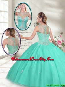 Summer Hot Sale Apple Green New Style Sweet 16 Dresses with Beading