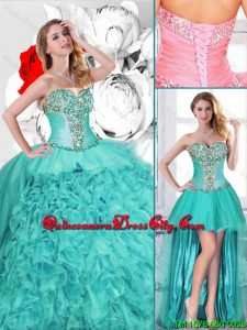 New Style Turquoise Detachable Quinceanera Gowns with Beading