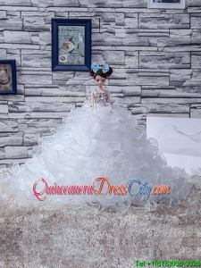 2022 Unique White Quinceanera Doll Dress in Organza