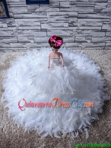 Affordable Feather Quinceanera Doll Dress in White