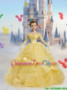 Beauty and the Beast Tulle Quinceanera Doll Dress in Light Yellow