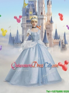 Cinderella Perfect Tulle Quinceanera Doll Dress in Light Blue