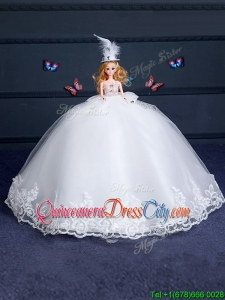 Fashionable Tulle White Quinceanera Doll Dress